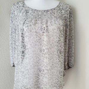 Lauren Conrad Printed Semi Sheer Peasant Blouse